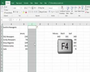 Insert a 3rd column using the F4 key