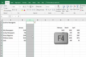 Insert a 4th column using the F4 key