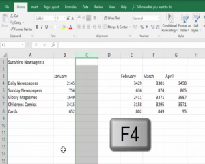 Delete a 2nd column by pressing the F4 key